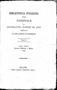 Biblioteca Italiana vol. 1, 1816