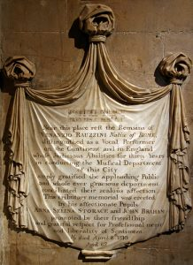 Figure 3: Rauzzini Memorial, Bath Abbey, Photograph by Paul Turner, Licensed under a Creative Commons Attribution 2.0 Generic (CC-BY2.0). Accessed 17 May 2015. https://www.flickr.com/photos/11602696@N00/5277396962/
