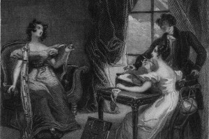 circa 1815:  A scene from Jane Austen's novel 'Emma', (1815) illustrated by Pickering.  (Photo by Hulton Archive/Getty Images)