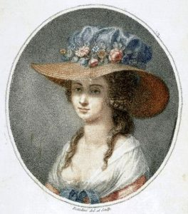 Figure 2: Bettelini, Pietro (1763-1829) Portrait of Nancy Storace (1765-1817), English soprano. Printed in April 12, 1788 by Moltens Colnaghi & Co No. 32 Pall Mall, and in Paris by chez Tessari Zanna et Ce. Quay de Augustins No 42.