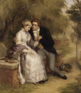 William Powell Frith, 'The Lover's Seat: Shelley and Mary Godwin in Old St Pancras Churchyard'