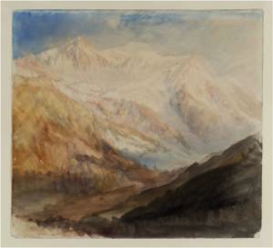 "J. M. W. Turner, ""Mont Blanc and the Glacier des Bossons from above Chamonix; Evening 1836″, Tate Britain."