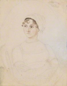 Jane Austen by Cassandra Austen, pencil and watercolour, circa 1810. National Portrait Gallery, London.